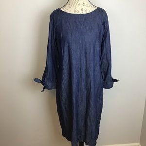 Talbots denim shift dress with 3/4 tie sleeves-14